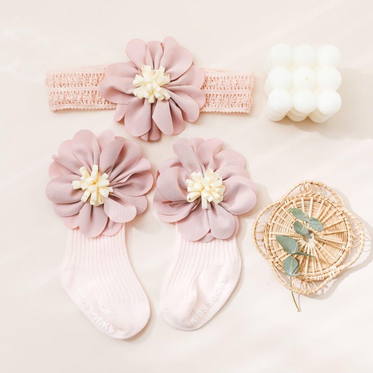 SHEIN / 1pair Baby Flower Decor Socks & 1pc Headband
