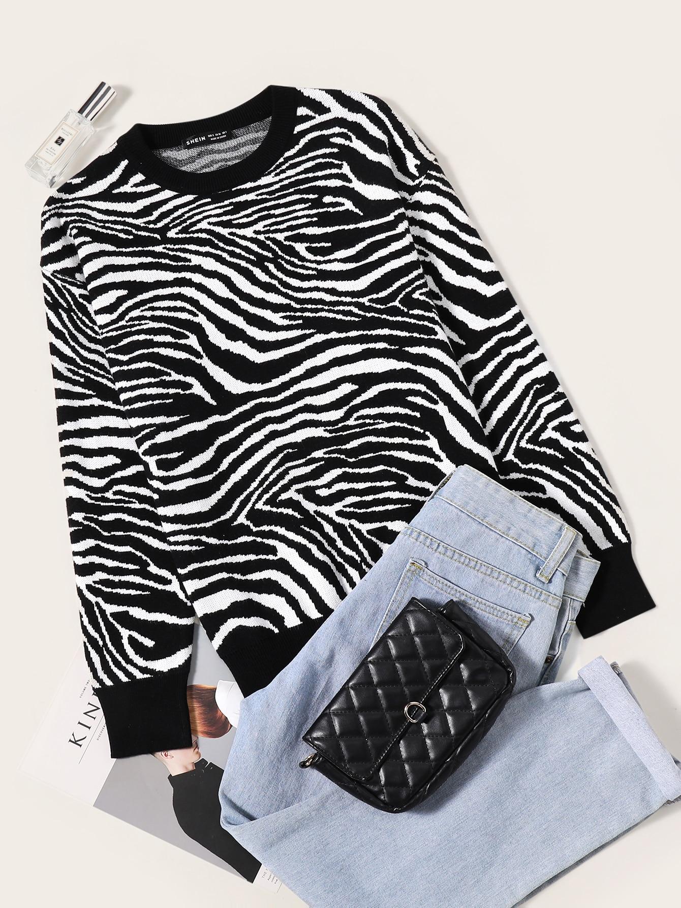 Drop Shoulder Zebra Striped Pattern Sweater thumbnail