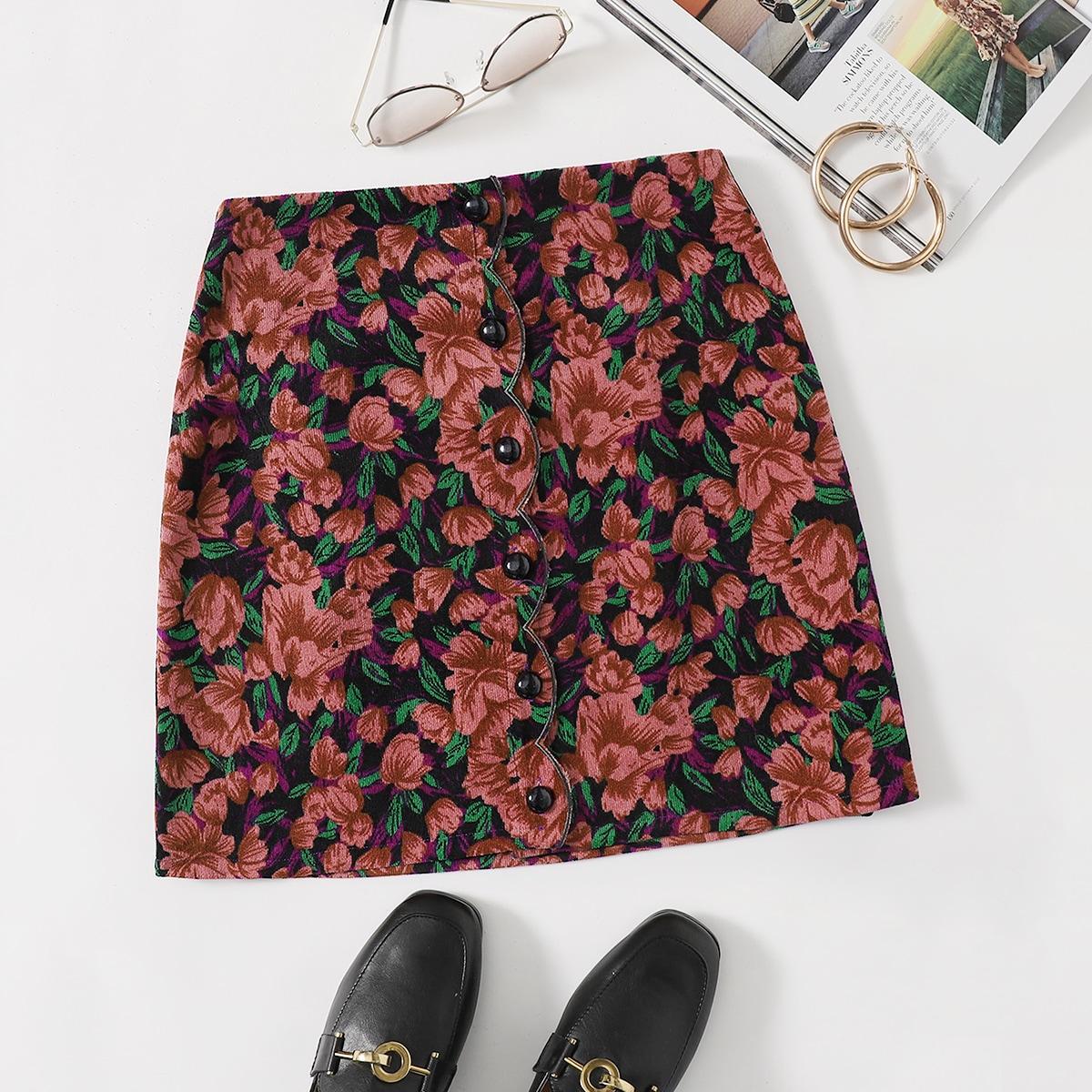 Вельветовая юбка с цветочным принтом и пуговицами