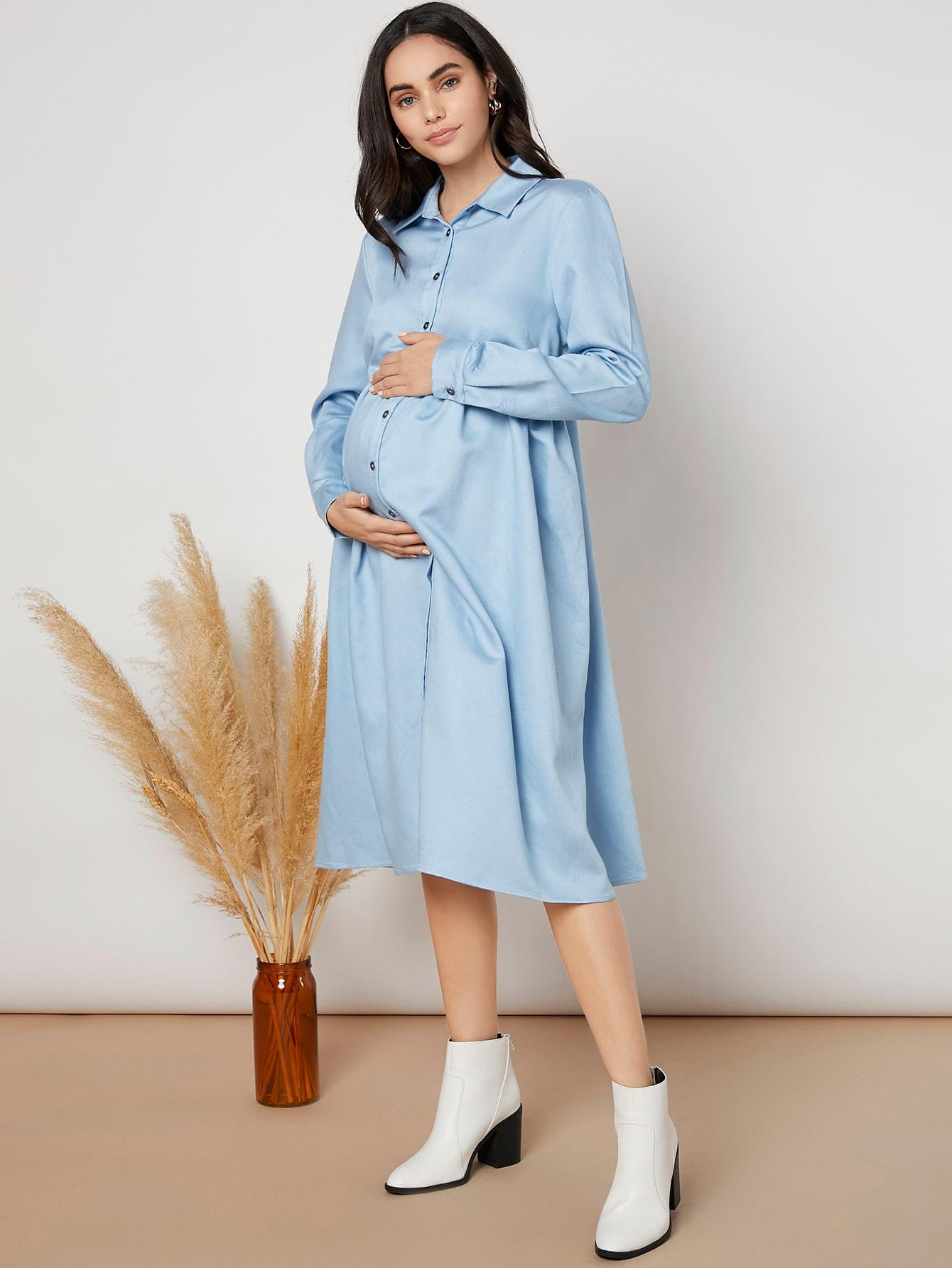 Maternity Button Up Shirt Dress thumbnail