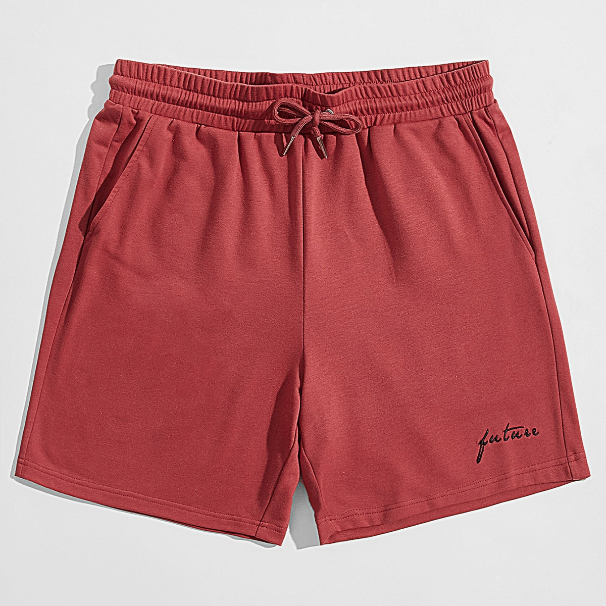 Men Letter Embroidery Drawstring Waist Track Shorts, SHEIN  - buy with discount