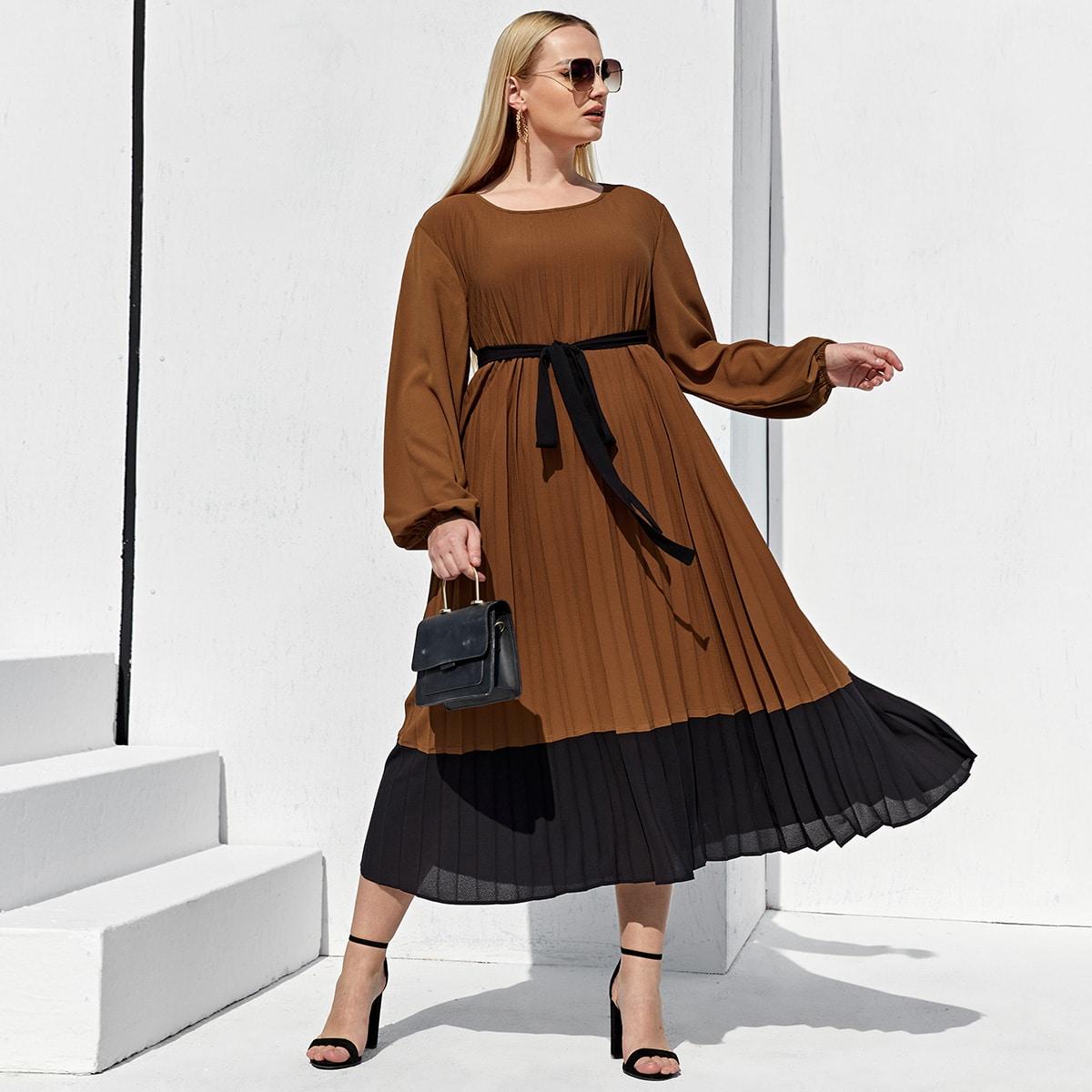 плиссированное Контрастный цвет Элегантный Платья размер плюс