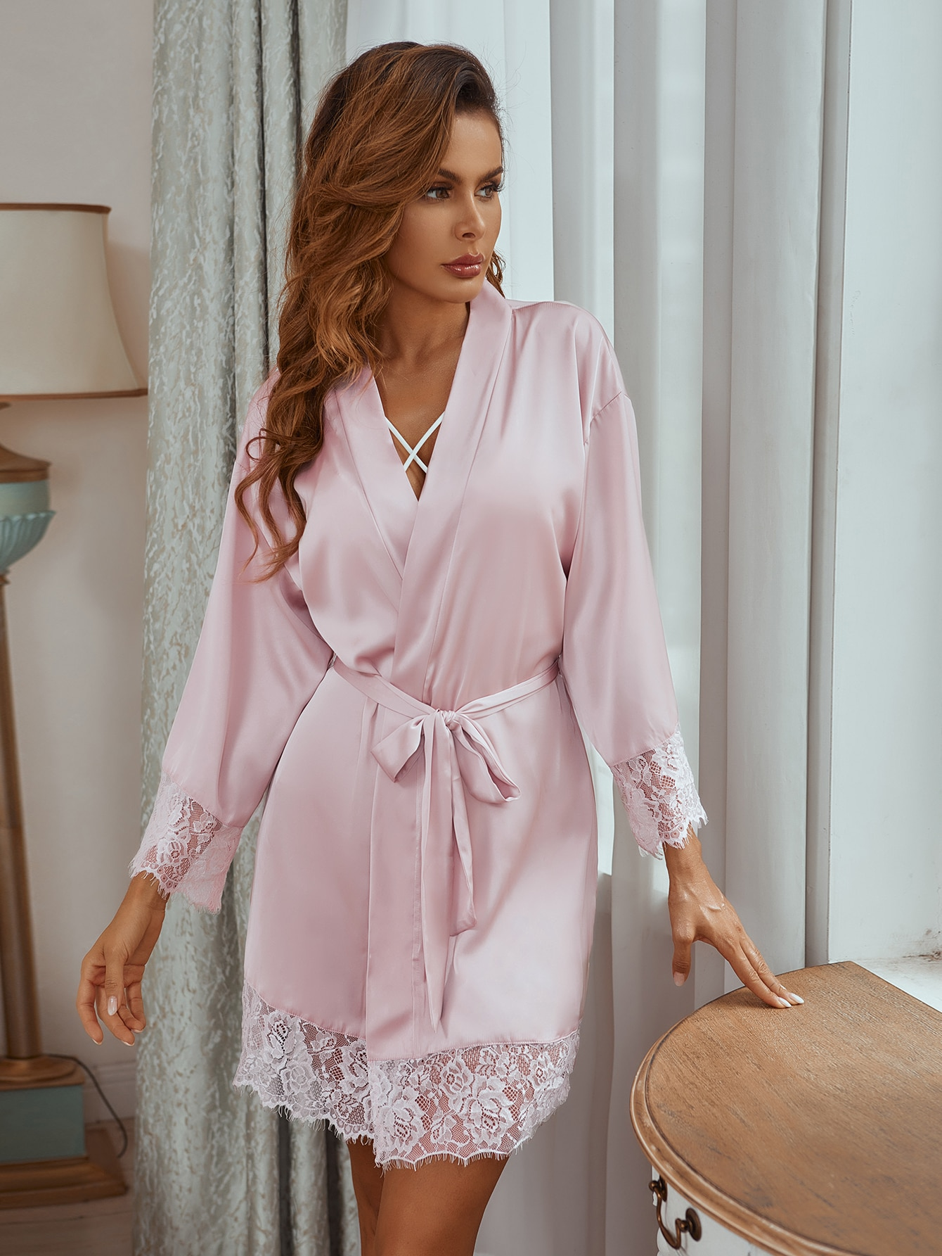 Satin Contrast Belted Night Robe thumbnail