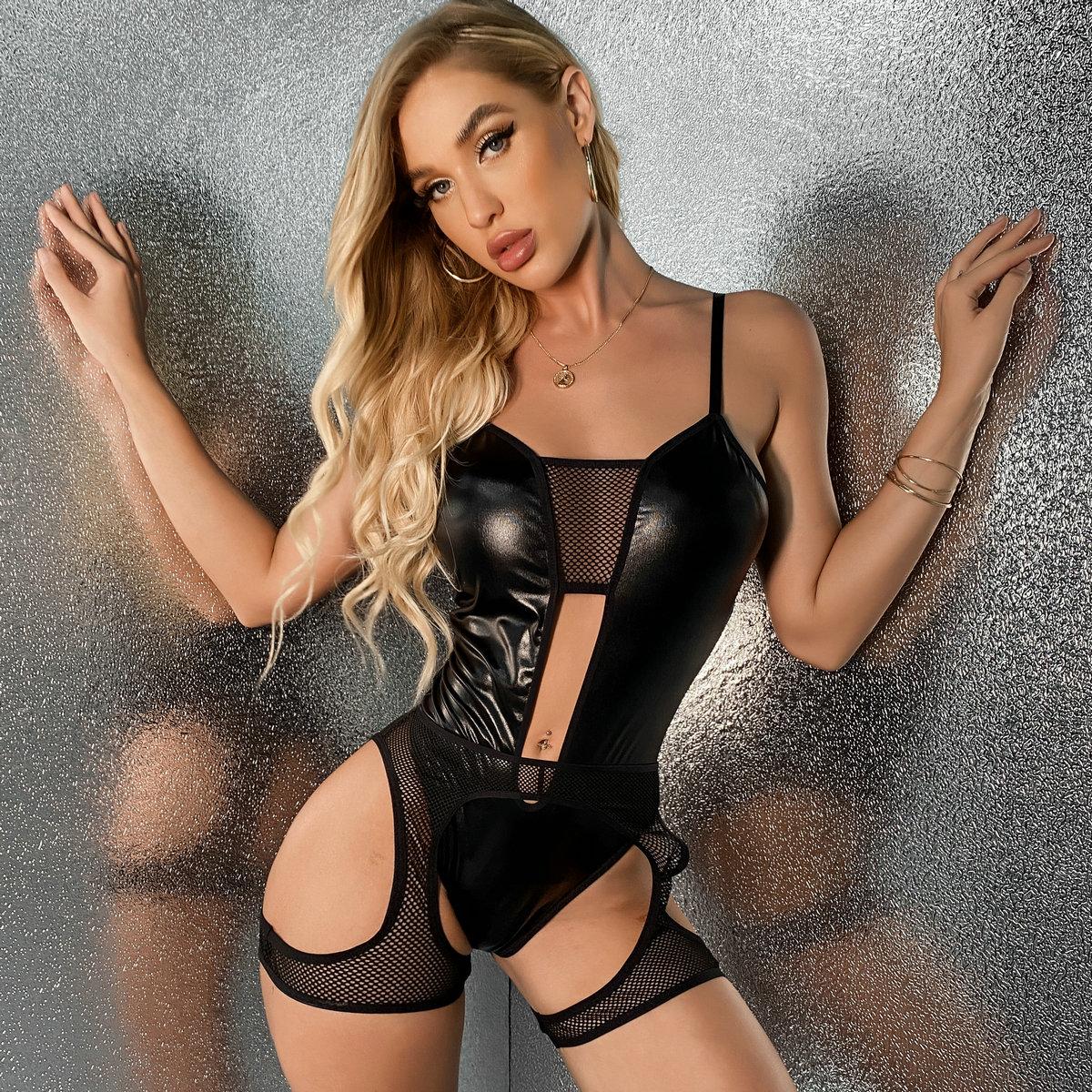 Контрастная сетка Ровный цвет Сексуальный Сексуально-женское белье