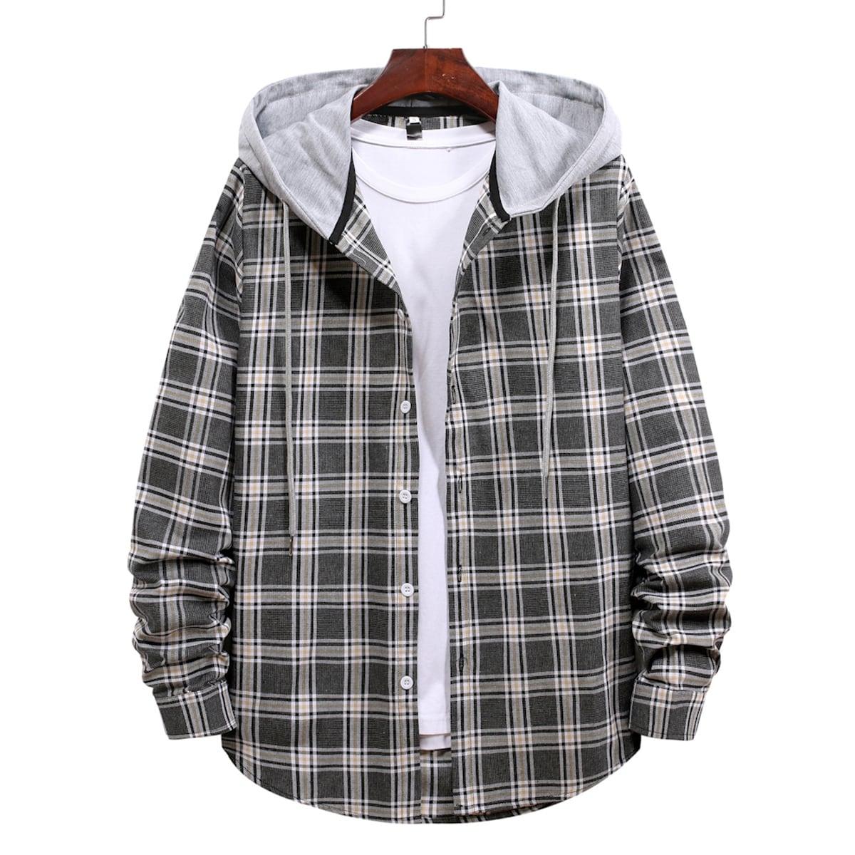 Пуговица Клетчатый Институтский Мужские рубашки SheIn rmshirt03201210920