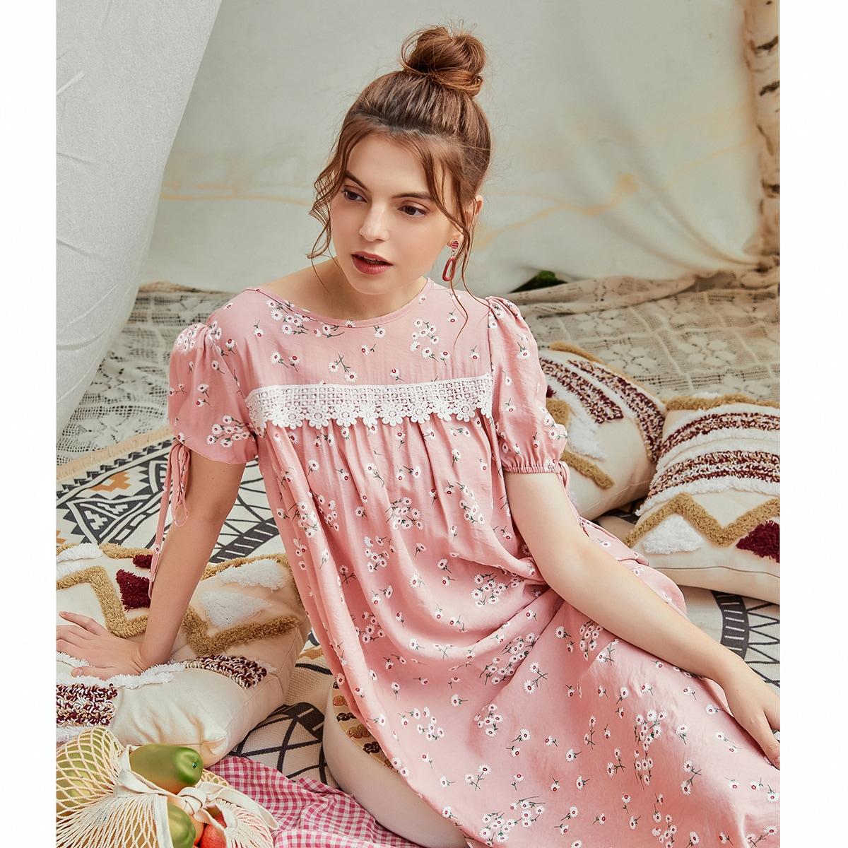 Контрастные кружева цветочный Бохо Платье по цене 912