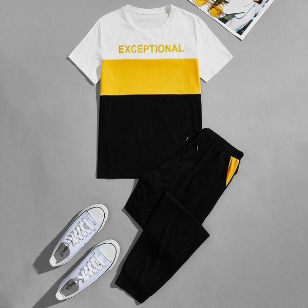 Men Cut And Sew Letter Graphic Tee With Joggers, Multicolor