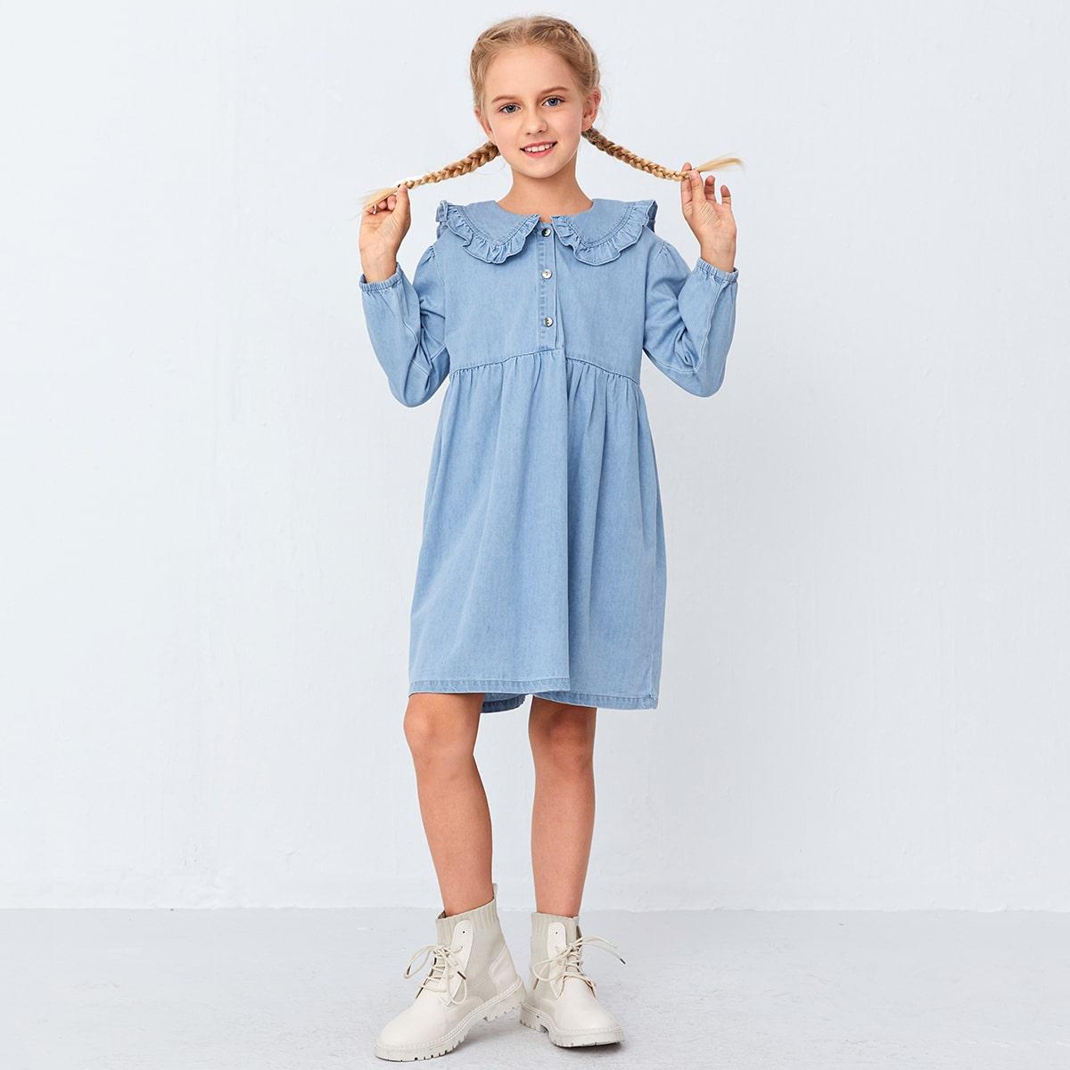 На пуговицах одноцветный милый джинсовые платья для девочек