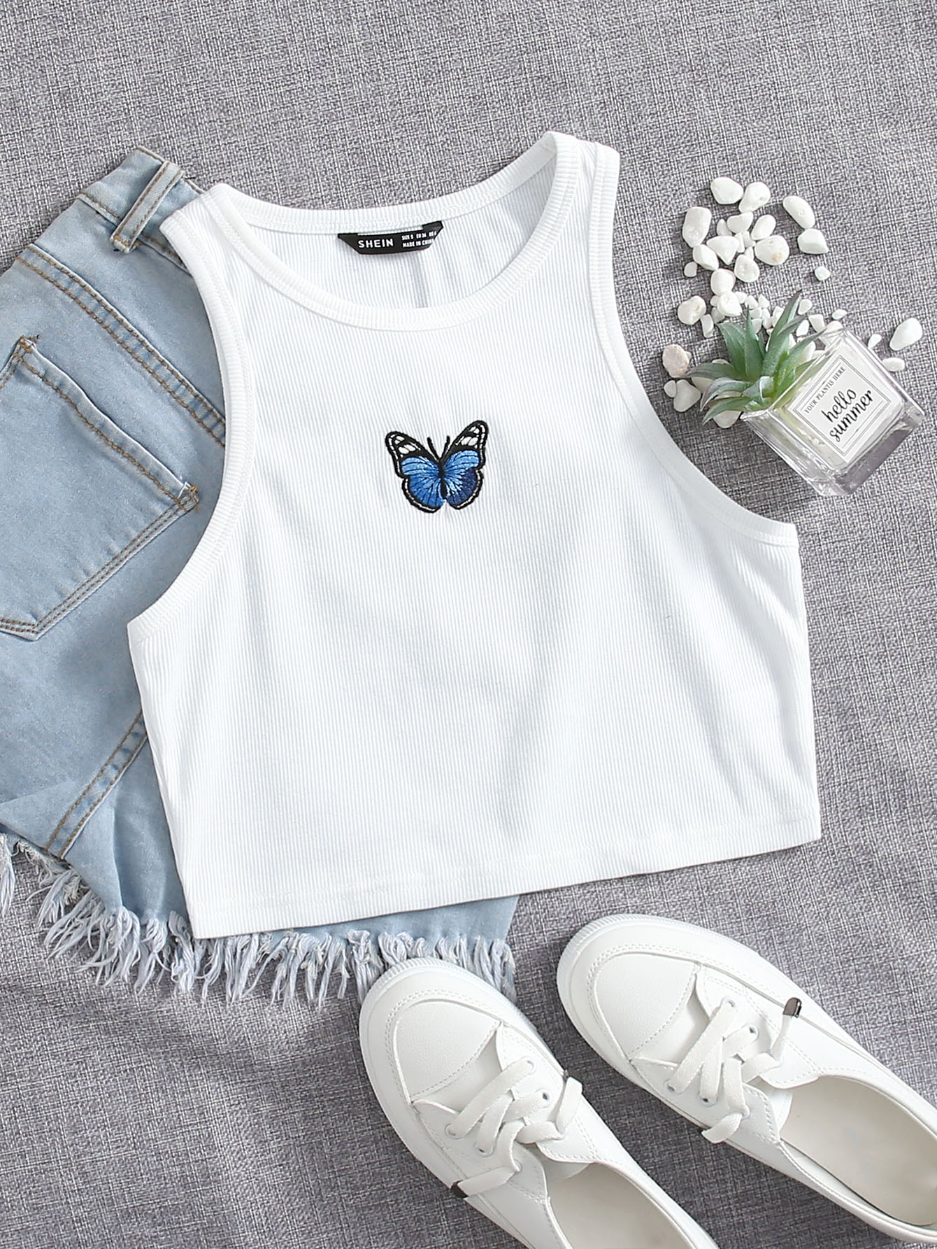 Butterfly Embroidery Rib-knit Tank Top thumbnail