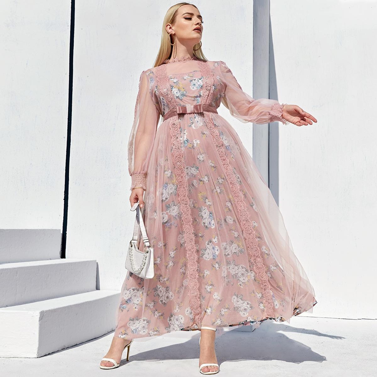 Сетчатое платье размера плюс с цветочным принтом и кружевной отделкой