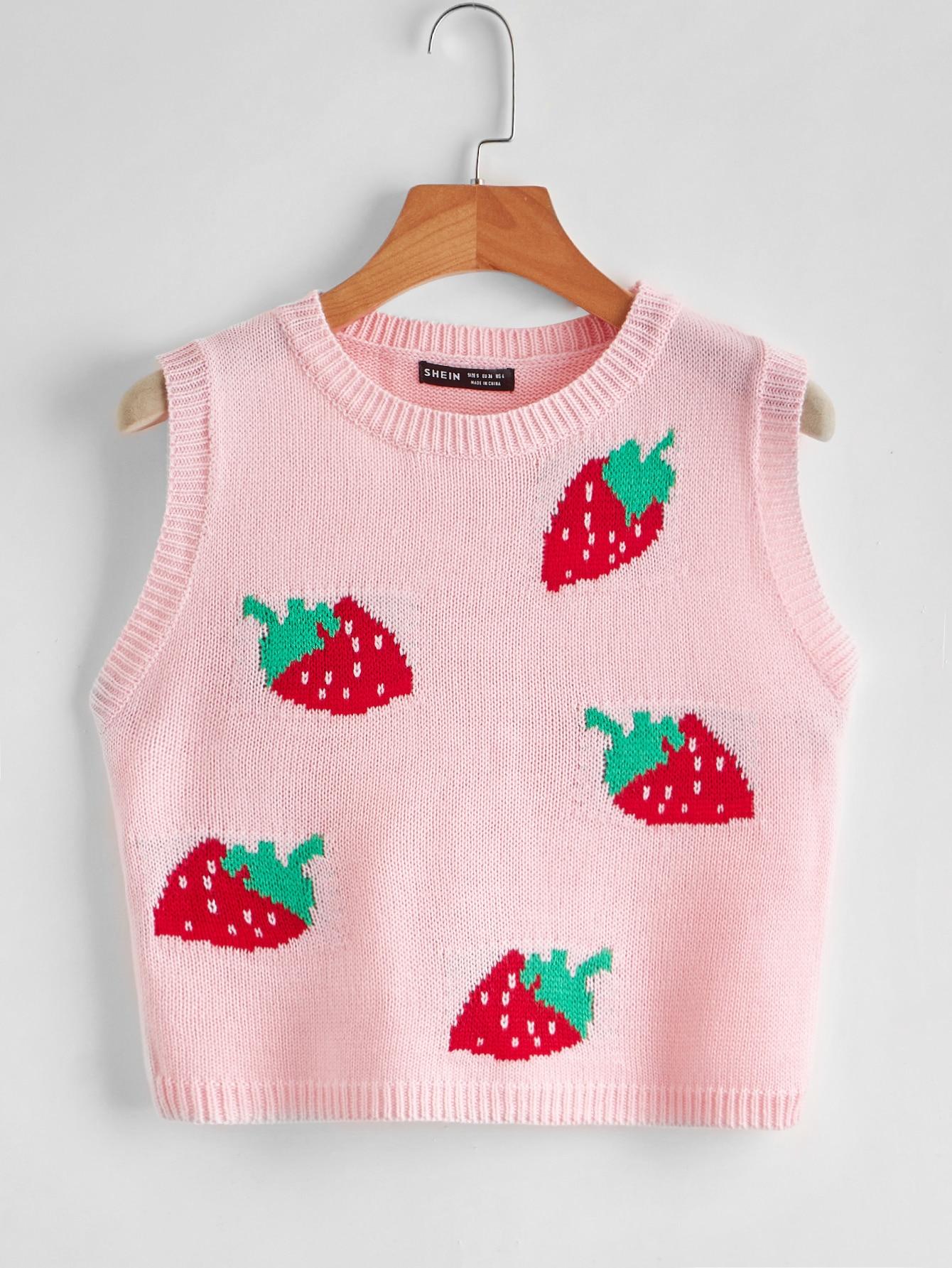 Strawberry Pattern Sweater Vest thumbnail