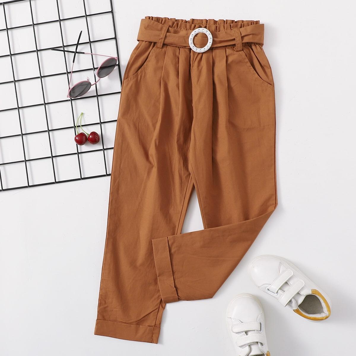 Карман одноцветный повседневный брюки для маленьких девочек