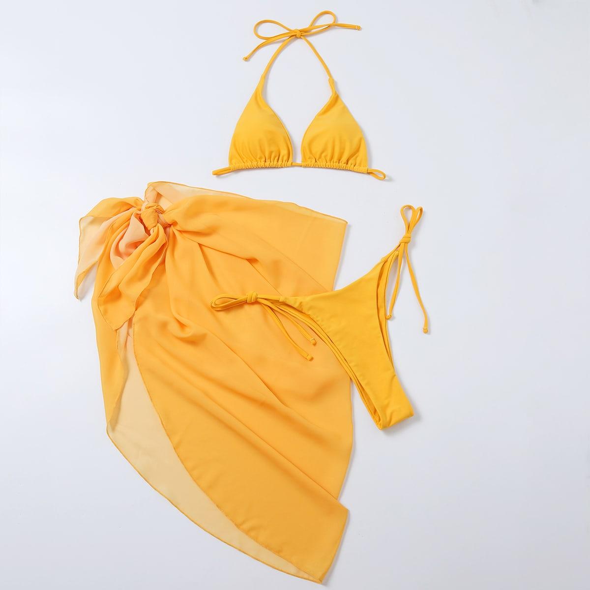 Бикини и пляжная юбка 3шт