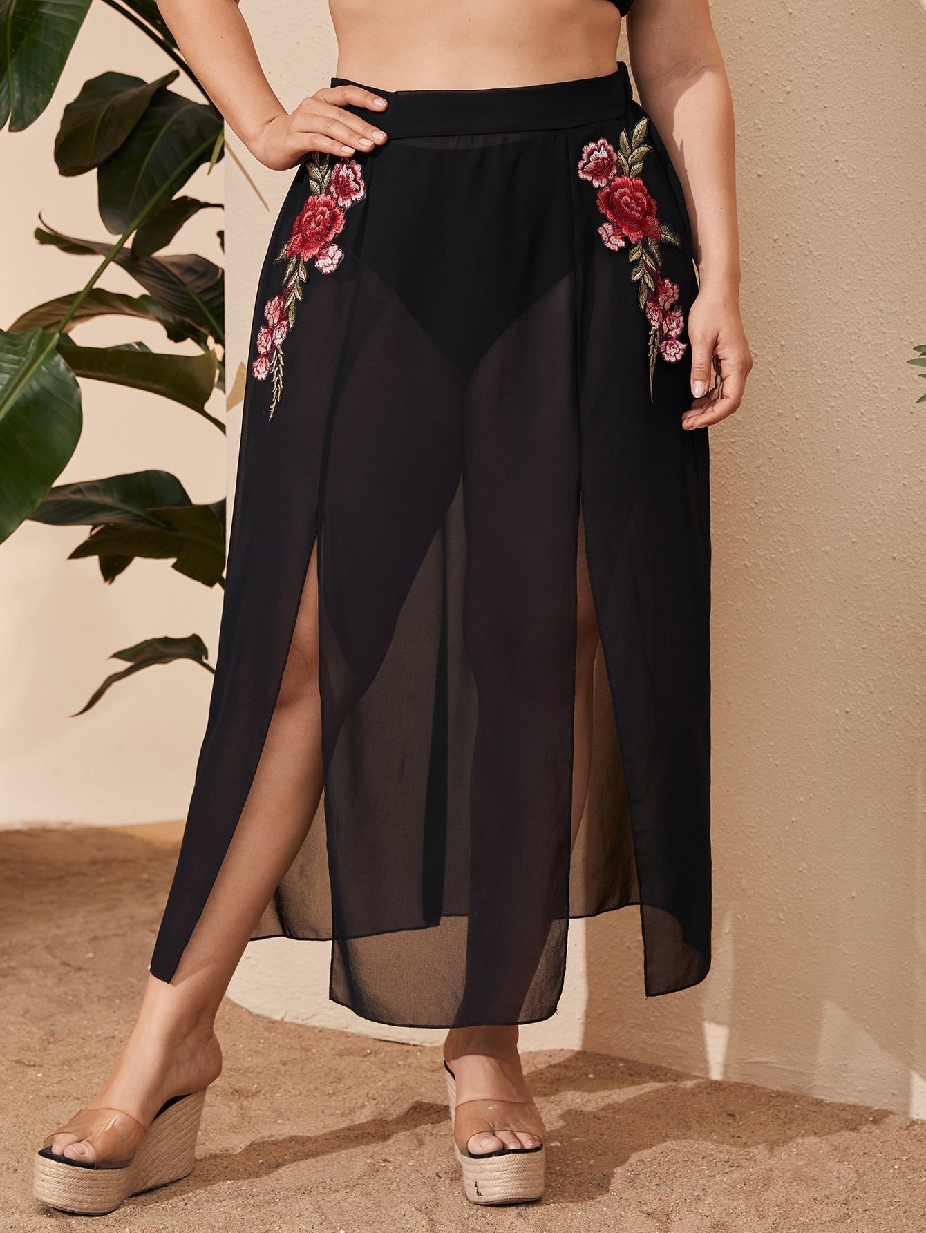 Plus Floral Embroidered Split Chiffon Cover Up Skirt thumbnail