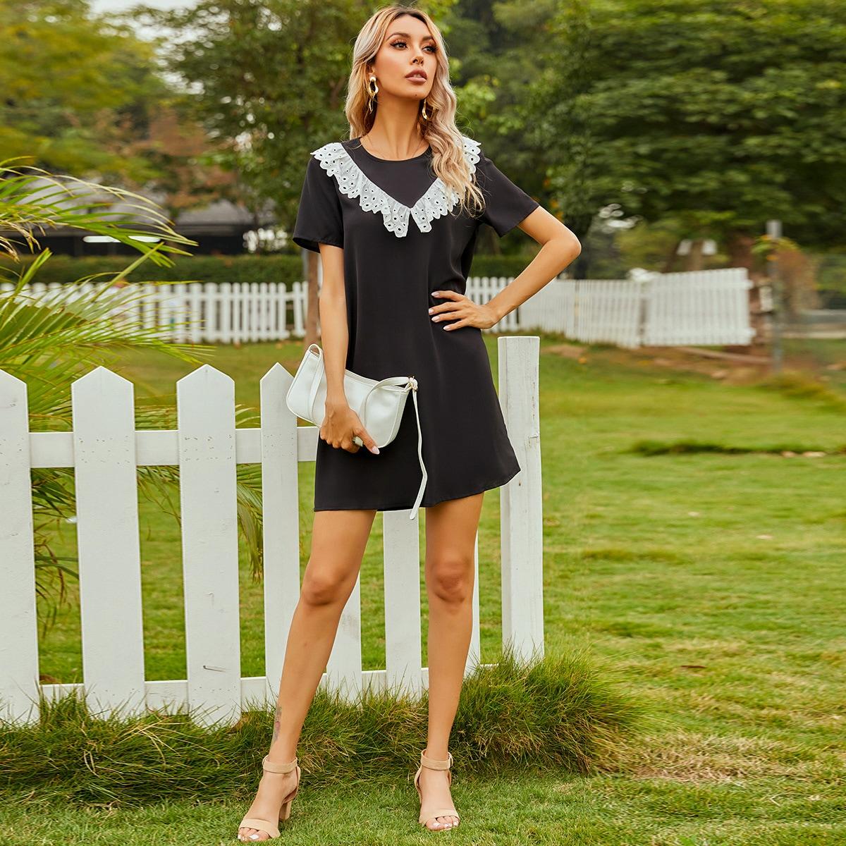 с оборками Контрастный цвет Повседневный Платье по цене 910