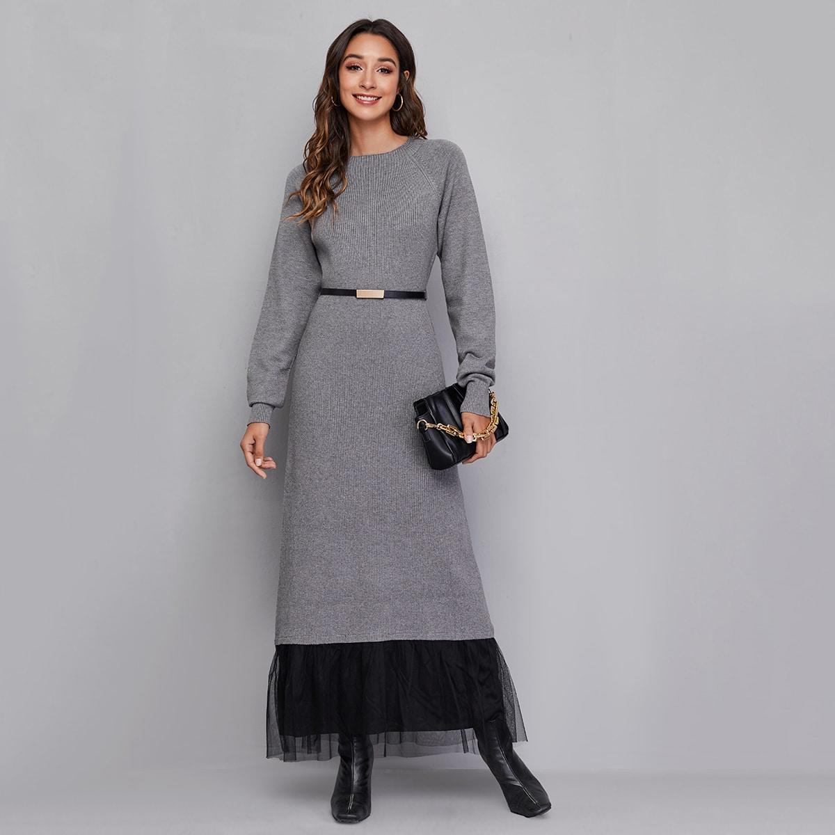 с оборками Контрастный цвет Повседневный Платья-свитеры