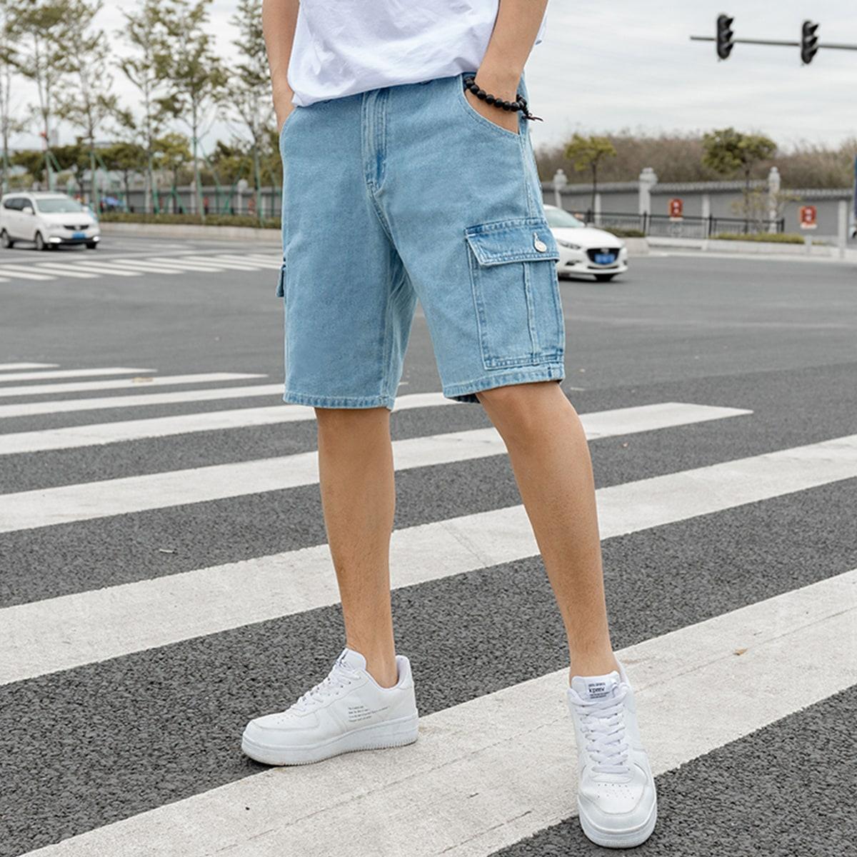 Карман Одноцветный Мужские джинсовые шорты
