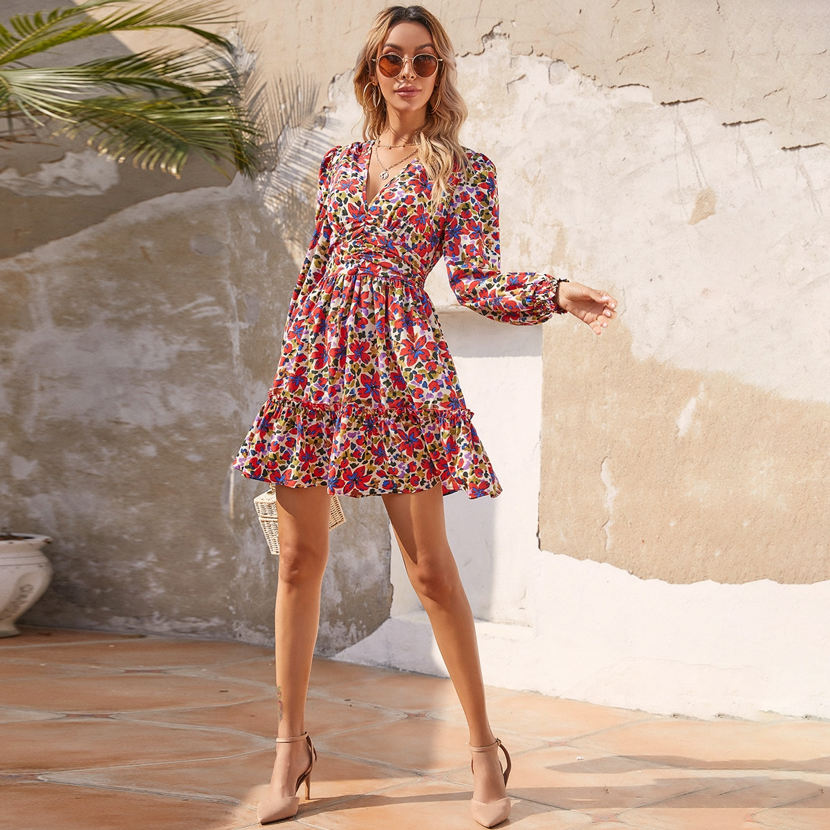 All Over Floral Print Puff Sleeve A-line Dress, SHEIN  - buy with discount