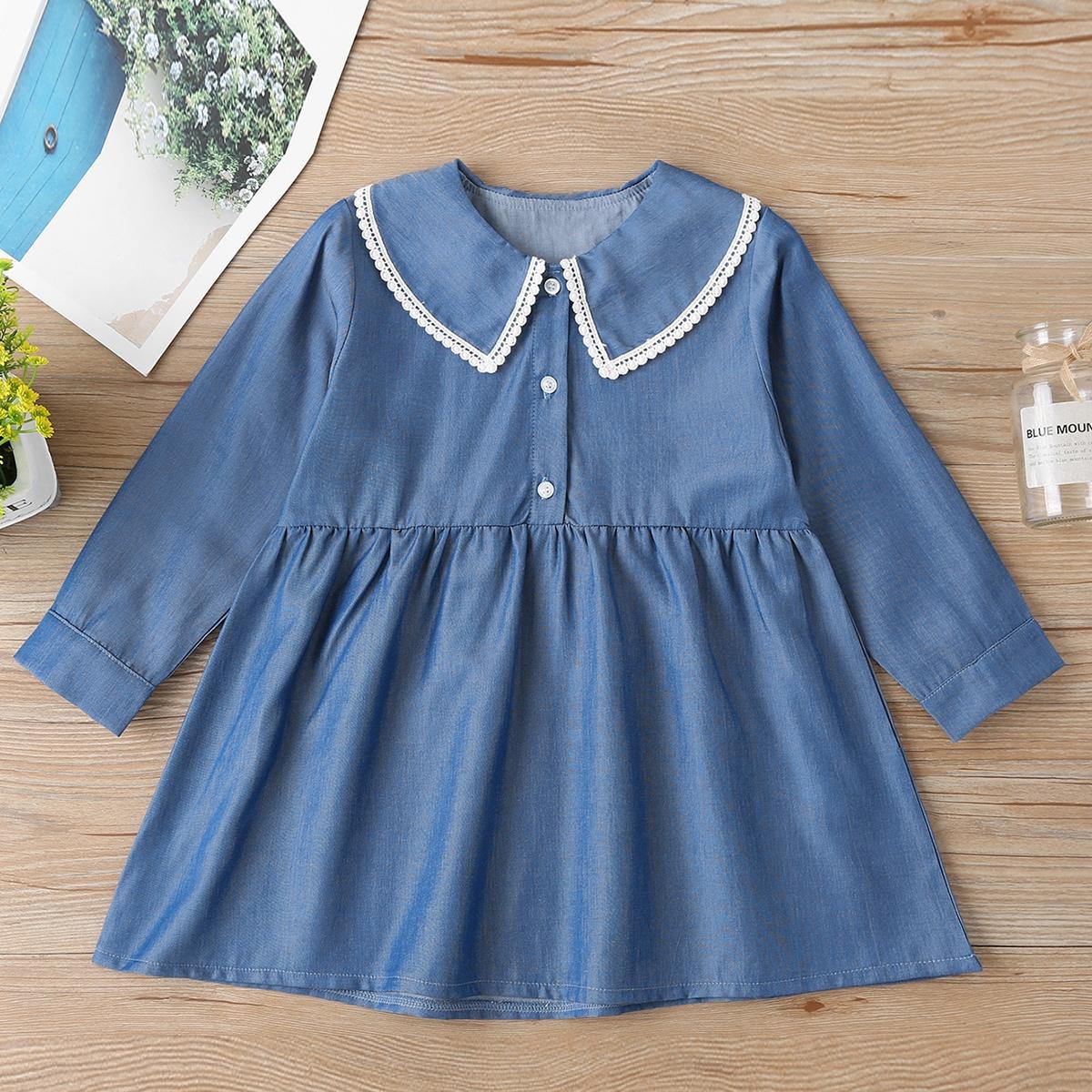 Контрастные кружева милый джинсовые платья для девочек