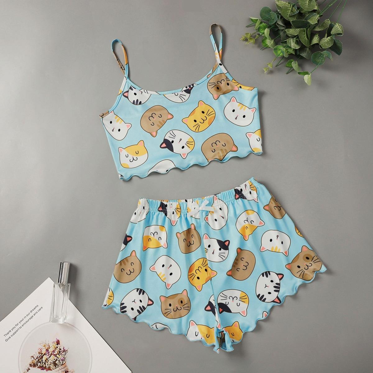 SHEIN / Cartoon Cat Print Lettuce Trim Pajama Set