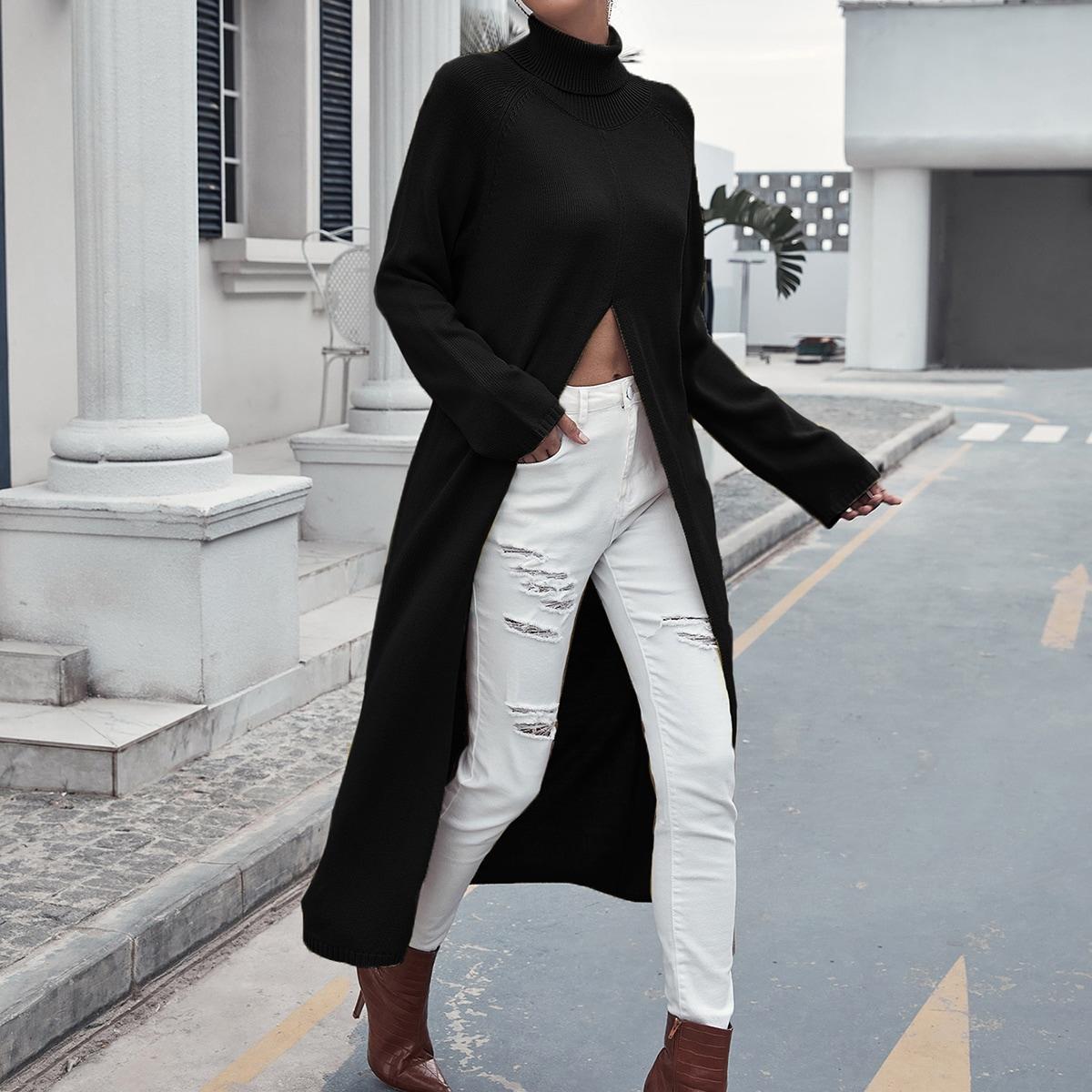Длинный свитер с рукавом реглан