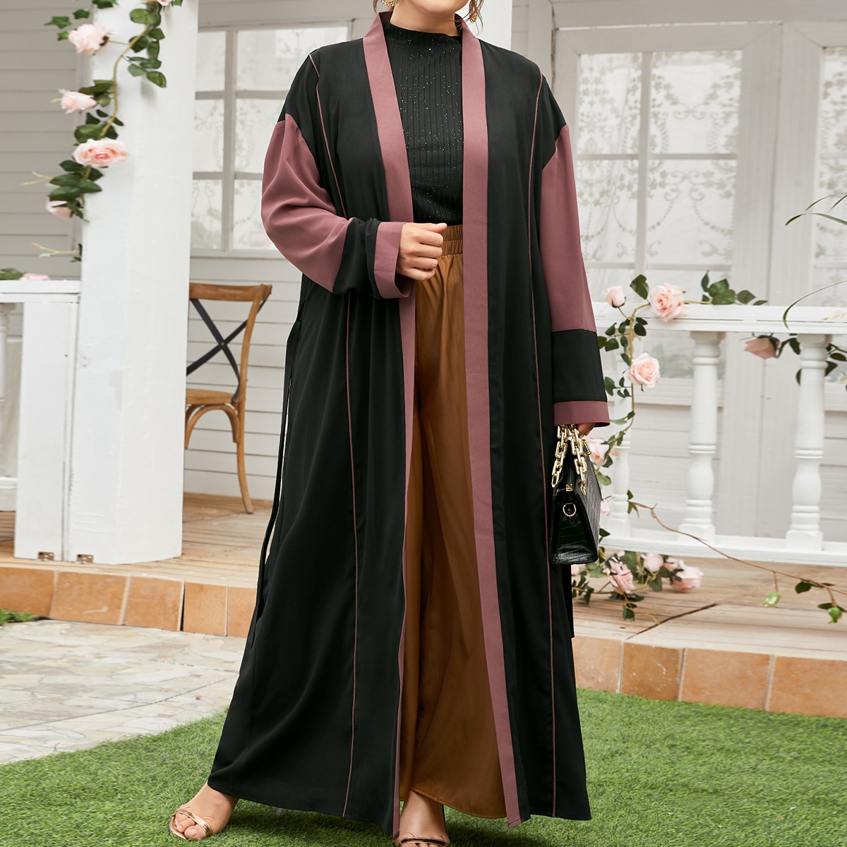 Контрастная отделка контрастный цвет повседневный кимоно размер плюс