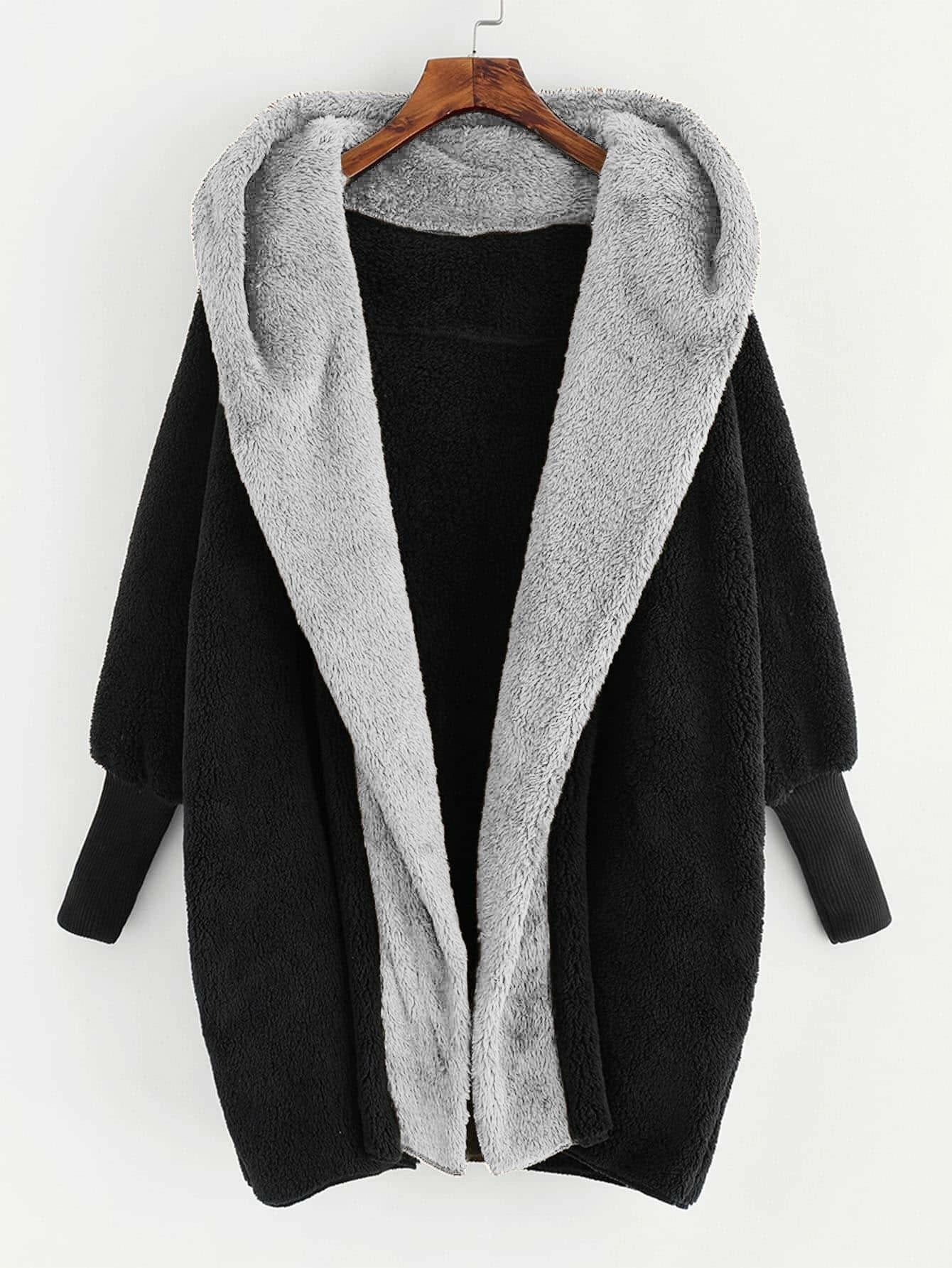 Plus Open Front Hooded Teddy Coat thumbnail
