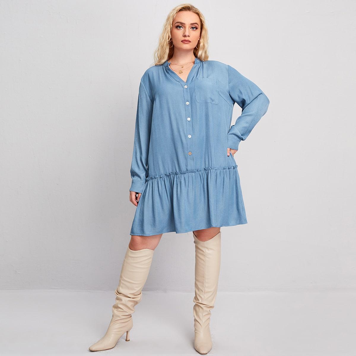 С карманами одноцветный повседневный джинсовые платья размер плюс