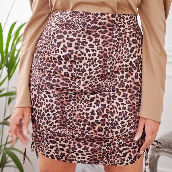 Plus Leopard Print Ruched Bodycon Skirt, Multicolor