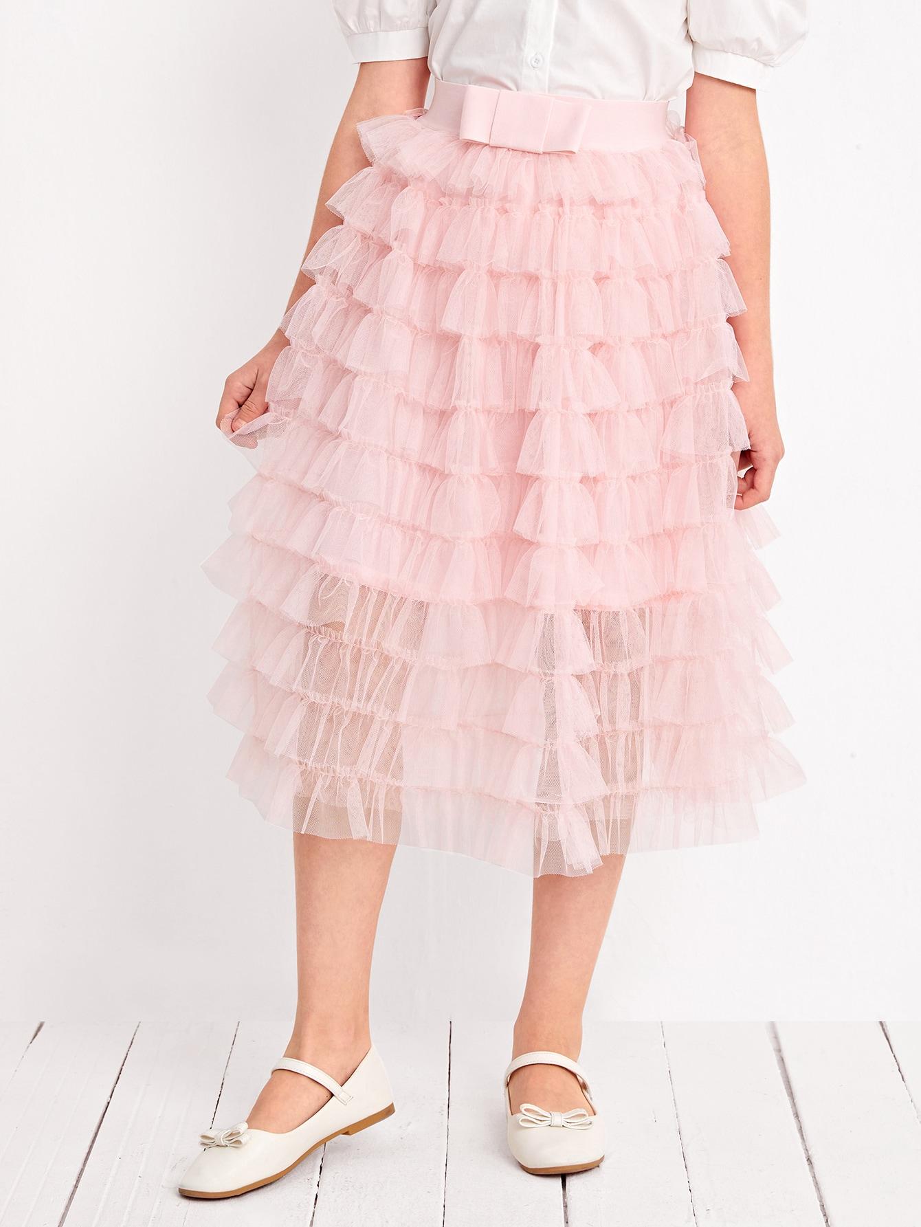 Girls Bow Waist Layered Ruffle Hem Mesh Skirt