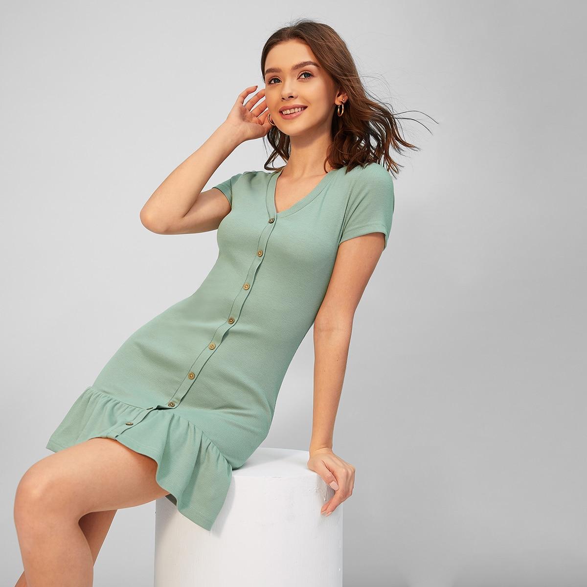 Пуговица Одноцветный Элегантный Платье