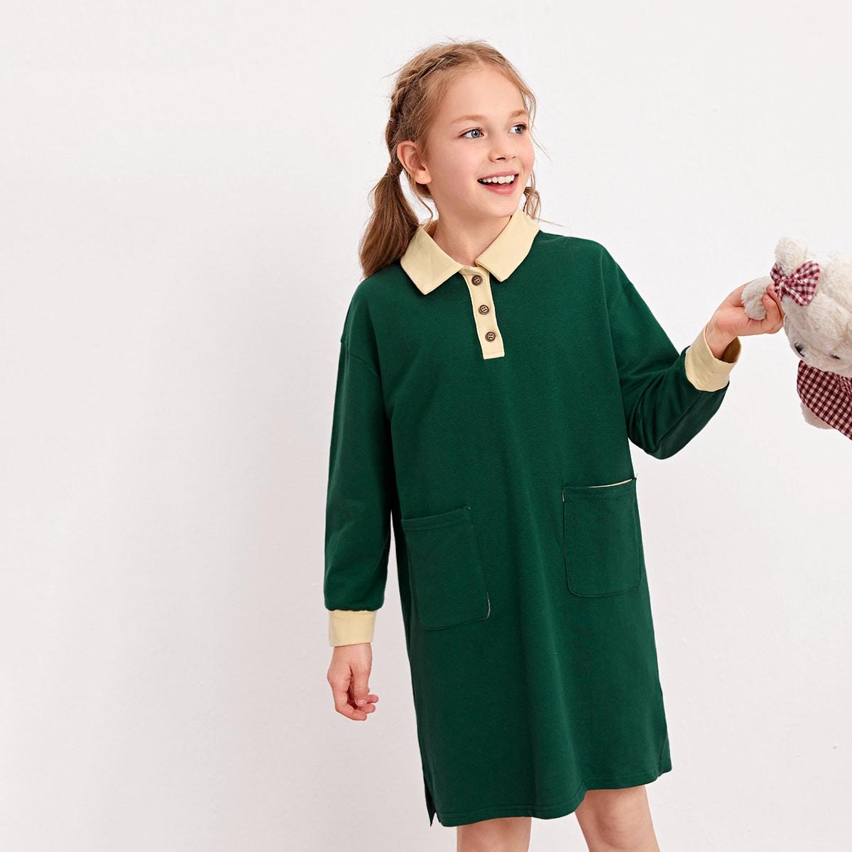 Пуговица контрастный цвет повседневный домашняя одежда для девочек