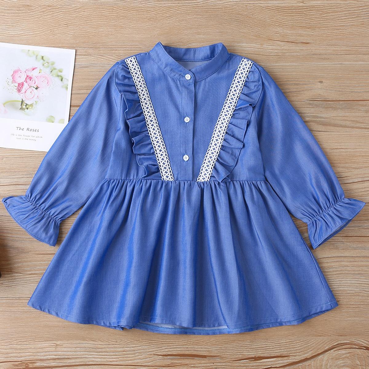 На пуговицах одноцветный повседневный джинсовые платья для девочек