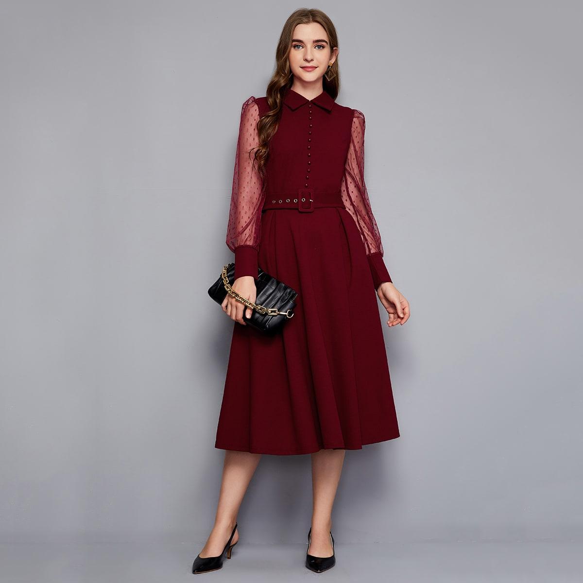 Платье с сетчатым рукавом и поясом