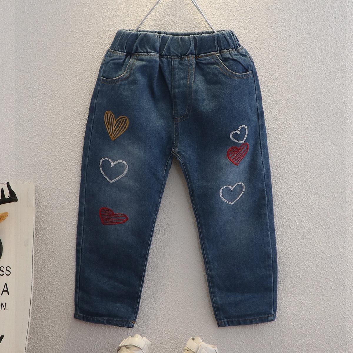 С вышивкой сердечко джинсы для девочек
