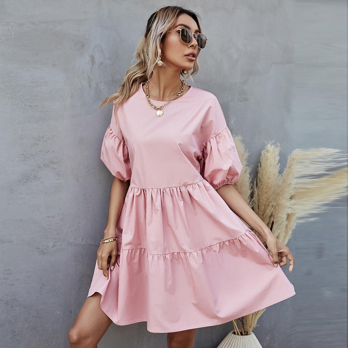 С оборками Одноцветный милый Платье