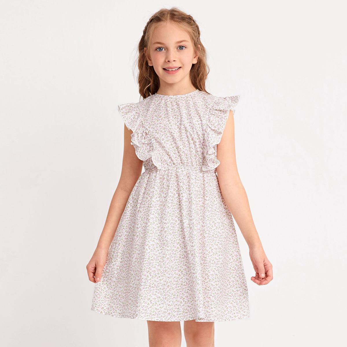 Kleid mit Rüschen, Armloch und Gänseblümchen Muster