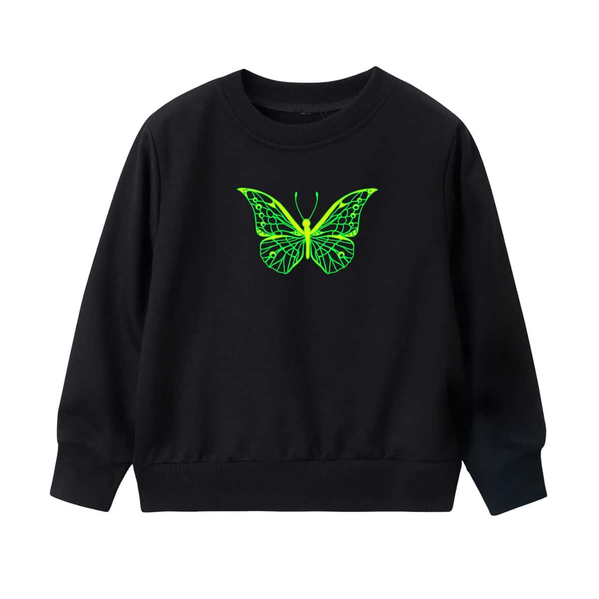 Girls Butterfly Print Sweatshirt, SHEIN  - buy with discount