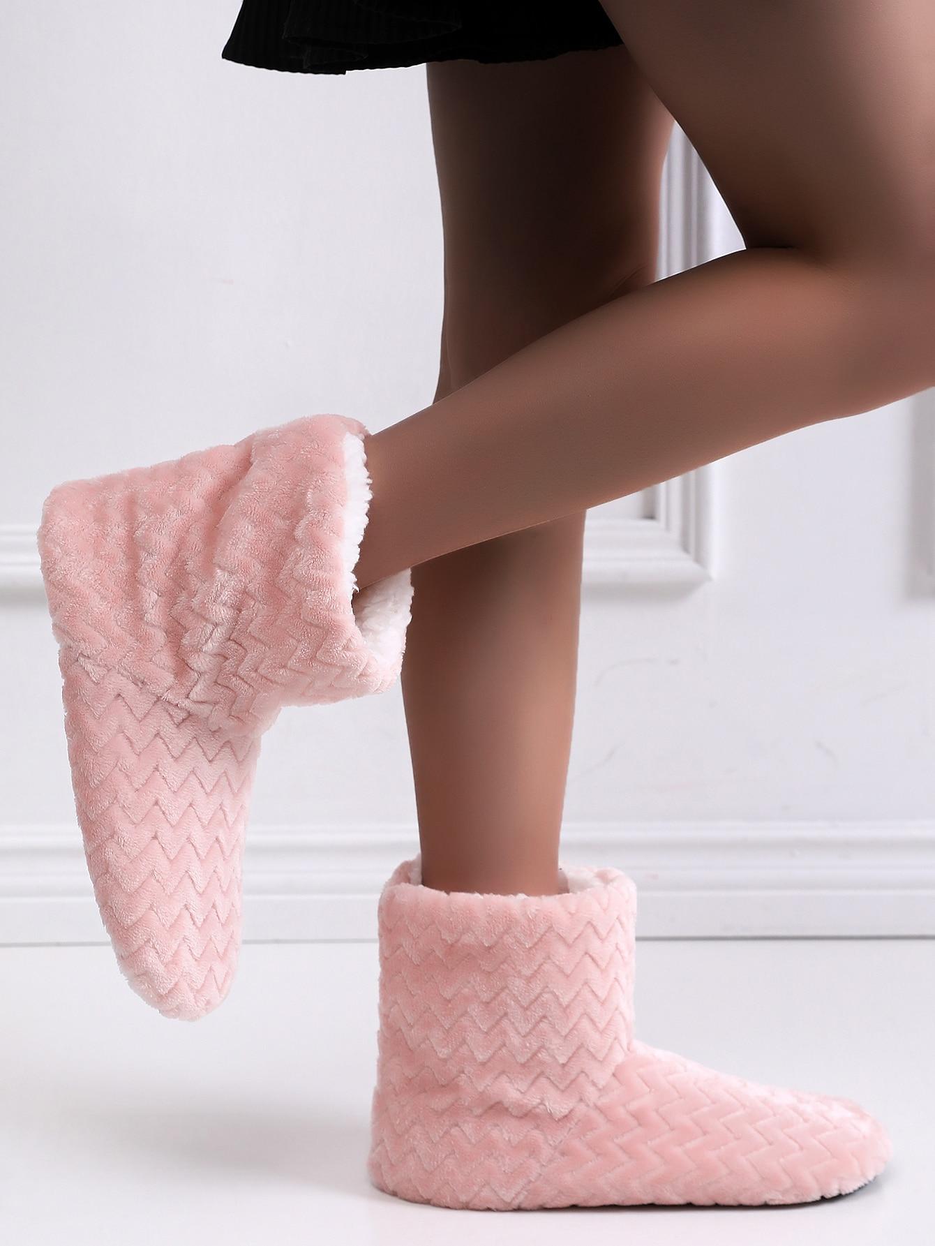 Chevron Plush Lined Slipper Boots