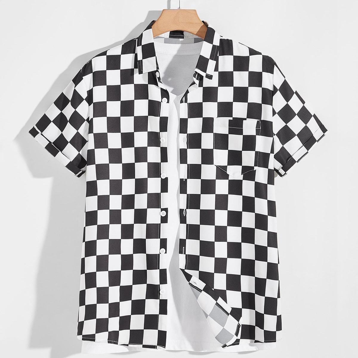 Мужской Рубашка в клетку карманом SheIn smshirt01201209257