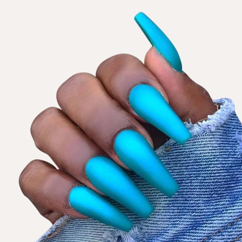 24pcs Fake Nail & 1sheet Tape & 1pc Nail File, Blue