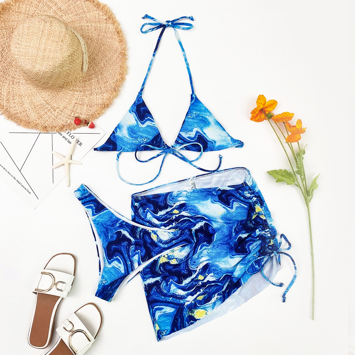3 пакета бикини и пляжная юбка с принтом