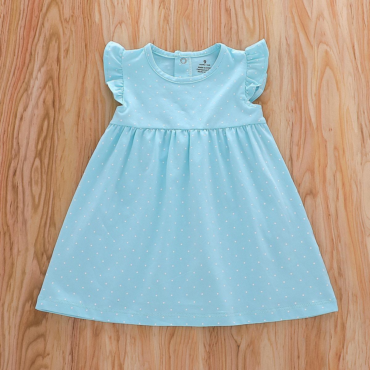 shein Schattig Stippen Baby-jurk Rimpeling