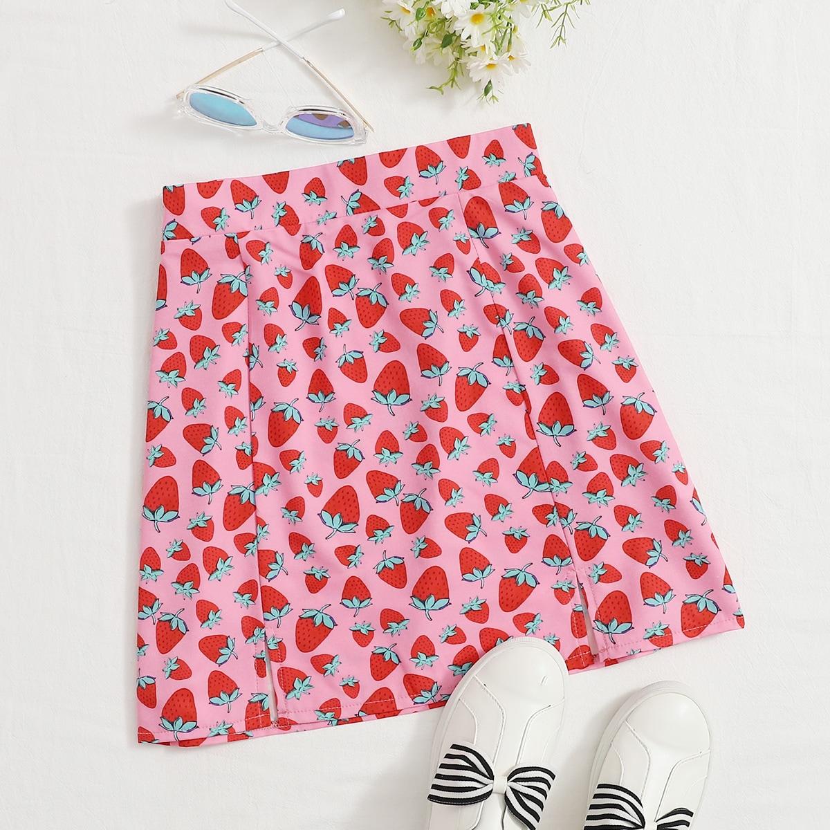 Plus Strawberry Print Split Hem Skirt, SHEIN  - buy with discount