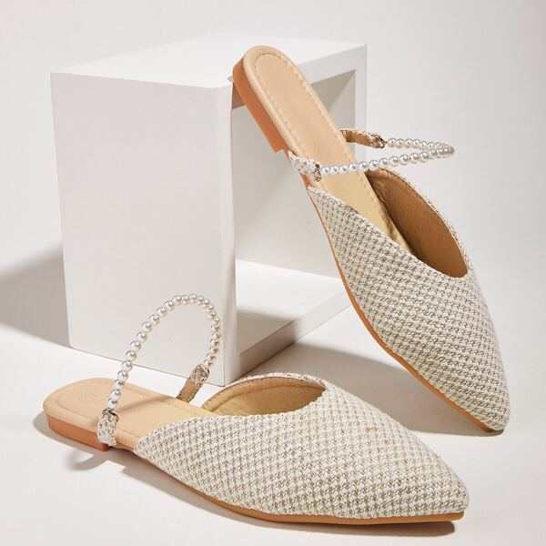 Point Toe Faux Pearl Decor Flat Mules, Apricot