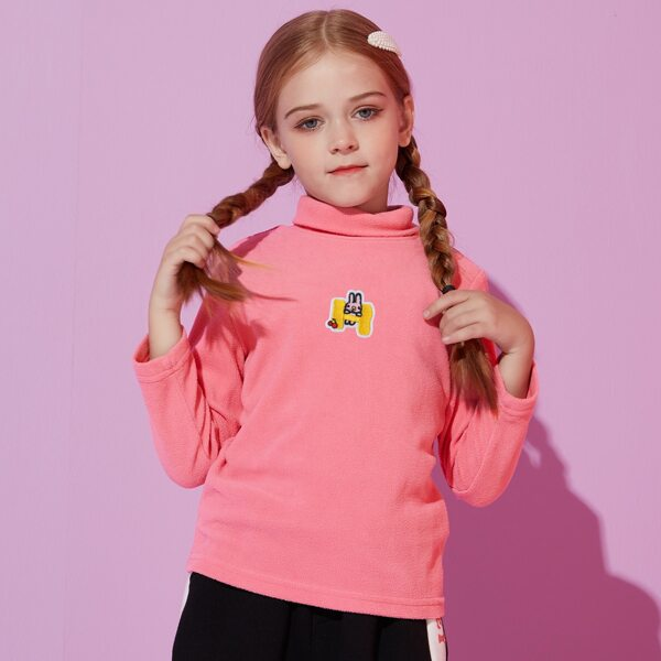 Girls Patched High Neck Teddy Tee, Pink