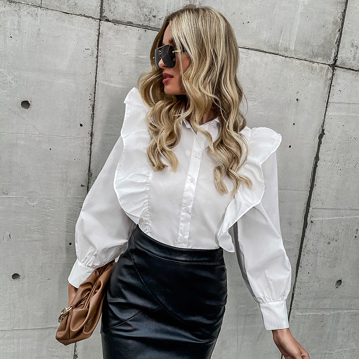 Solid Ruffle Trim Button Up Blouse
