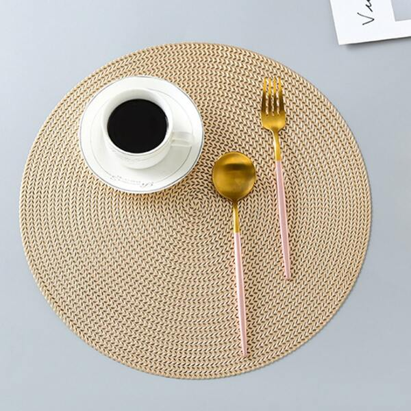 1pc Round Wheat Ear Pattern Placemat, Gold