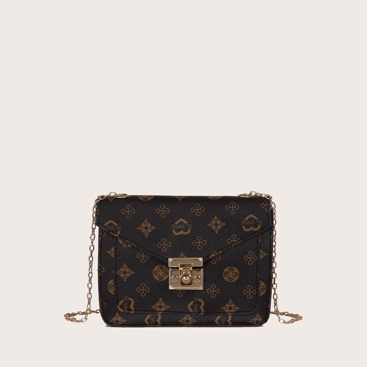 Tasche mit geometrischer Grafik, Twist und Sperren