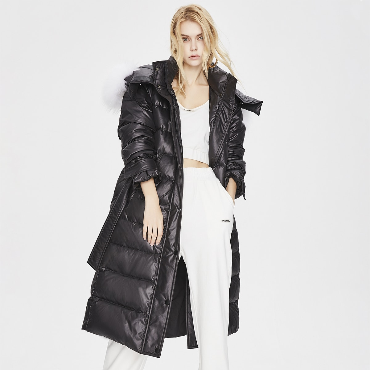 Contrast Faux Fur Hooded Zip Up Buckle Belted Down Coat